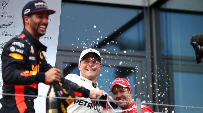 Bottas, Vettel e Ricciardo (LaPresse)
