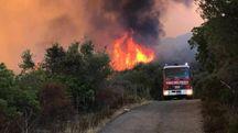 Incendi, vigili del fuoco in azione (Ansa)
