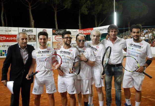 Mario Baldassari, il tio Il Volo, Cristiano Malgioglio, Morgan e Patrick Baldassari (foto Corelli)