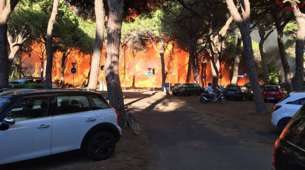 L'incendio di Marina di Grosseto