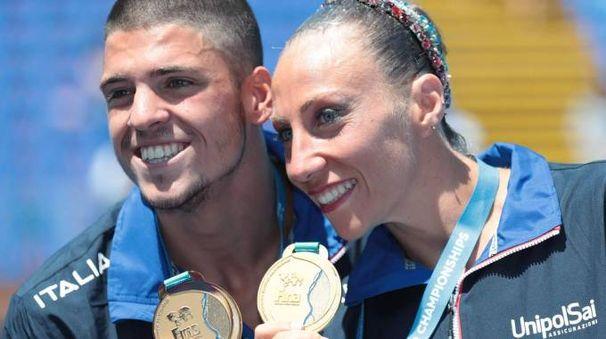 Giorgio Minisini e Manila Flamini, oro ai Mondiali di nuoto (Ansa)