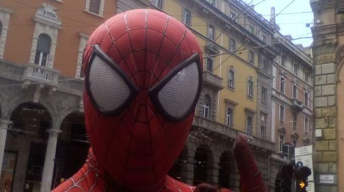 Spiderman in piazza di Porta Ravegnana