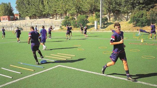 I giocatori dell'Ancona durante un allenamento