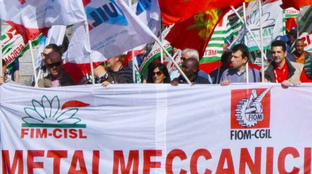 Un recente sciopero dei metalmeccanici