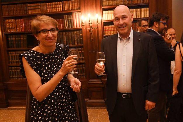 Rita Ghedini con Andrea Riffeser Monti, vicepresidente e amministratore delegato del gruppo Poligrafici Editoriale (Foto Schicchi)