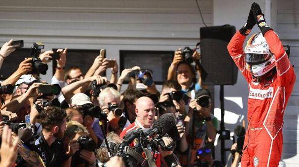Gp Ungheria 2017, l'esultanza di Sebastian Vettel (Ansa)