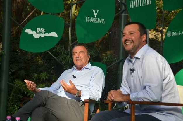 Matteo Salvini intervistato dal direttore della Nazione Francesco Carrassi al Caffè della  Versiliana (foto Umicini)