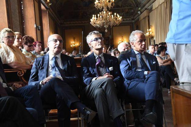Da sinistra, il questore Ignazio Coccia, il procuratore capo Giuseppe Amato e il prefetto Matteo Piantedosi (Foto Schicchi)