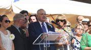 Il discorso di Bolognesi in stazione (Foto Schicchi)