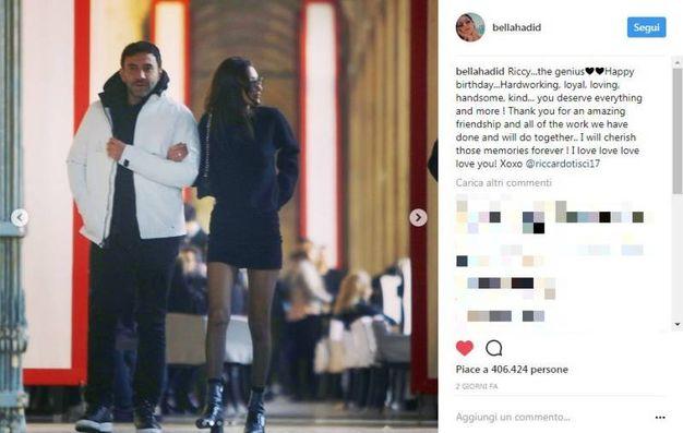 Il post di Bella Hadid con Riccardo Tisci su Instagram