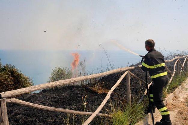 Il lavoro dei vigili del fuoco ha impedito che il fuoco divorasse i due centri abitati (Fotoprint)