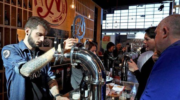 Lo stand della Birra Amarcord durante l'ultima edizione di Beer Attraction, andata in scena alla Fiera di Rimini
