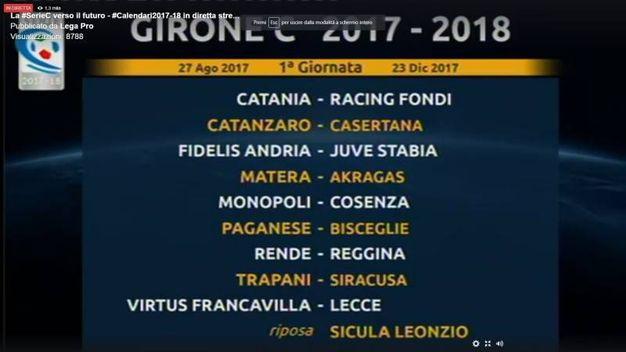 La prima giornata del girone C della Serie C 2017/2018