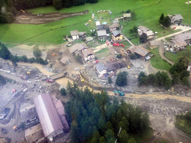 I danni del maltempo a Ollomont, in Valle d'Aosta (Ansa)