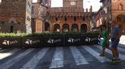 Ventisette fioriere collocate nei tre varchi dell'area pedonale Ugo Bassi-Rizzoli-Indipendenza (foto Schicchi)