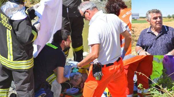 Reggio Emilia, vola con l'auto nel torrente. Cittadino eroe gli salva la vita (Artioli)
