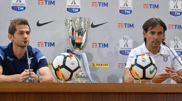 Supercoppa italiana 2017, Senad Lulic e Simone Inzaghi (LaPresse)
