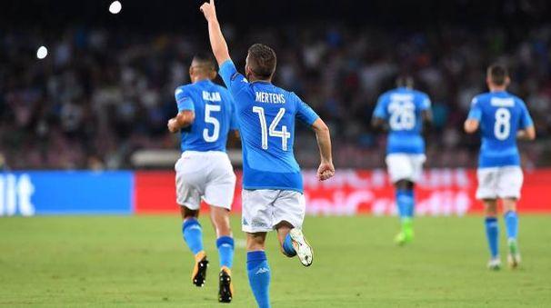 Napoli-Nizza, gol di Mertens (LaPresse)