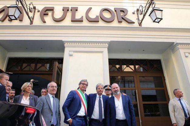 Il premier Gentiloni visita il cinema Fulgor dopo il restauro (foto Petrangeli)