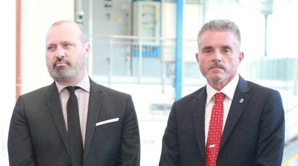 Il presidente della Regione Emilia Romagna Stefano Bonaccini insieme al sindaco Paolo Lucchi