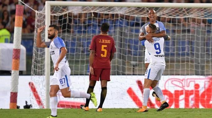 La gioia nerazzurra dopo il secondo gol di Icardi