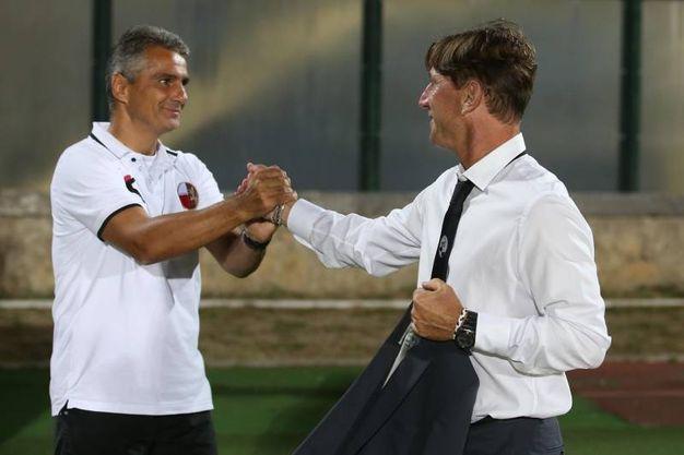 Un momento della partita: i due allenatori (Foto Dipietro)
