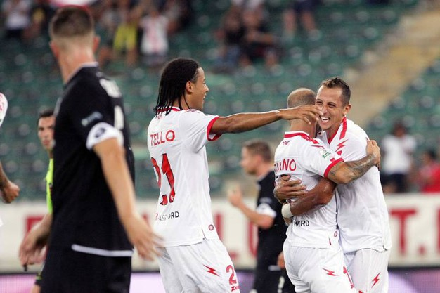 L'esultanza dopo il gol di Galano (foto LaPresse)