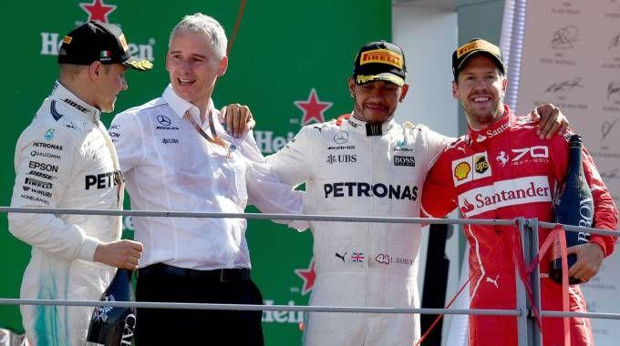 Gp di Monza 2017, il podio con Hamilton, Bottas e Vettel (foto Afp)