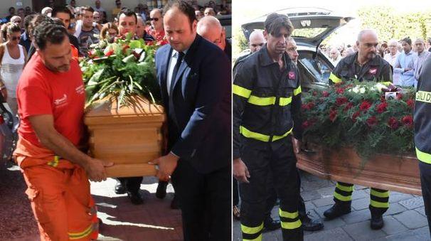 A sinistra il funerale di Eugenio Viviani, a destra quello di Antonio Pellegrini