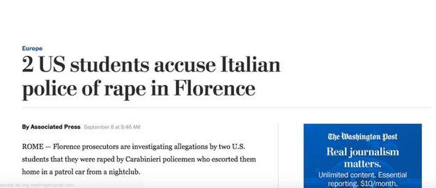 Due ragazze americane accusano due carabinieri di stupro: la notizia sui siti internazionali