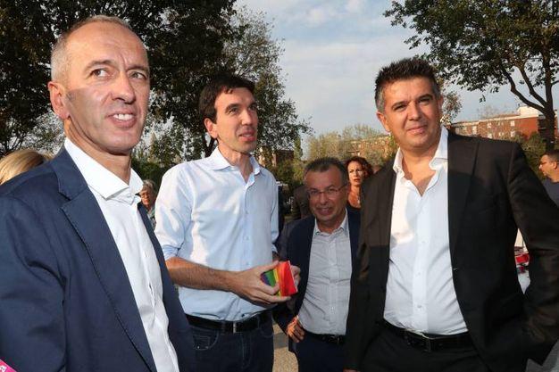 Festa Unità di Imola il ministro Maurizio Martina con il sindaco Manca (Foto Isolapress)