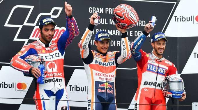 Marquez, Petrucci e Dovizioso sul podio a Misano (Afp)