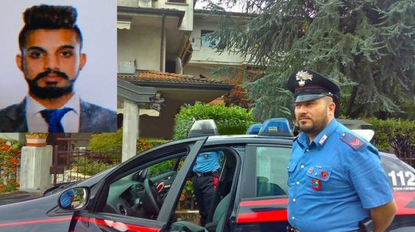 Carabinieri davanti all'abitazione e, nel riquadro, la vittima (De Pascale)