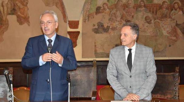 Il prefetto Attilio Visconti con il preside Dario Codegoni (Torres)