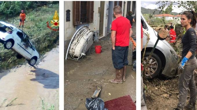 Tre momenti dell'alluvione di Livorno