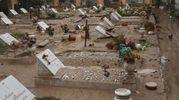 Il cimitero dell'Ardenza dopo il nubifragio della notte tra sabato 9 e domenica 10 settembre (Ansa)