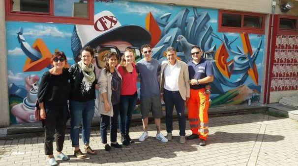 Fano, l'inaugurazione del murale di Smog One a Sant'Orso