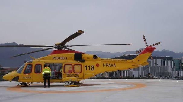 Pergaso, l'elicottero usato per trasportare il ferito all'ospedale di Cisanello