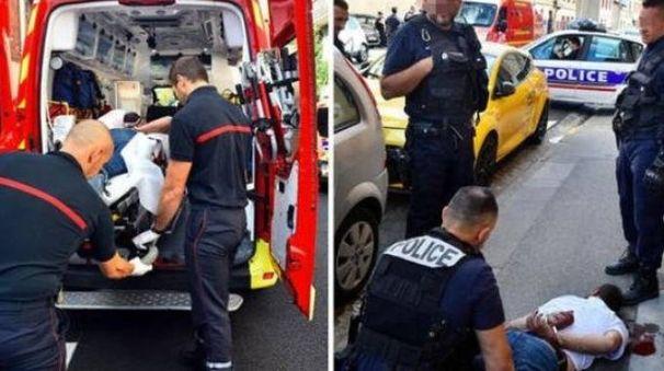 L'arresto di un uomo che ha aggredito passanti e agenti (Twitter)