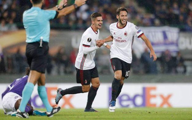 Esultanza per il gol di Andre Silva del Milan 0-2 (LaPresse))