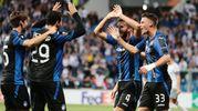 Il gol di Cristante, esultenza 3-0 (Ansa)