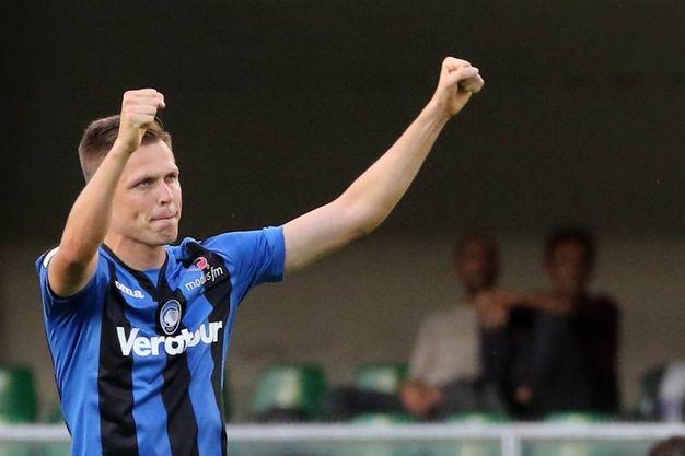 Chievo-Atalanta, esultanza di Ilicic per il gol 0-1, poi annullato (foto Lapresse)