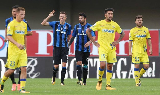 Chievo-Atalanta, esultanza di Ilicic per il gol 0-1, poi annullato (foto Ansa)