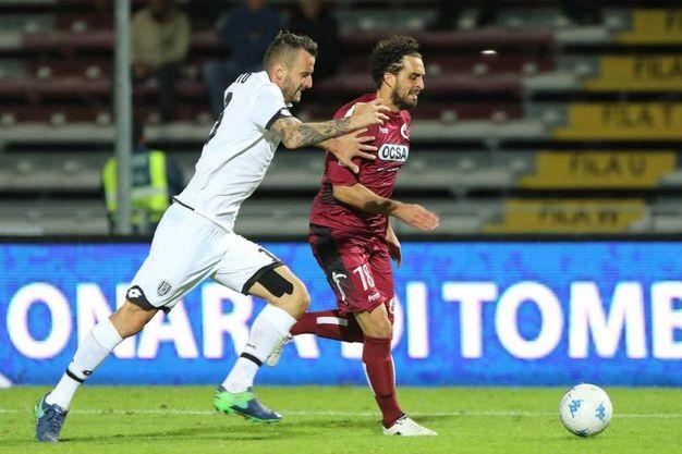 Cittadella-Cesena 4-0, un'azione di gioco (foto Lapresse)