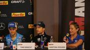 La promessa Andrea Dreitz, Timo Bracht che ha fatto la storia del triathlon internazionale e l'atleta professionista Martina Dogana (foto Zani)