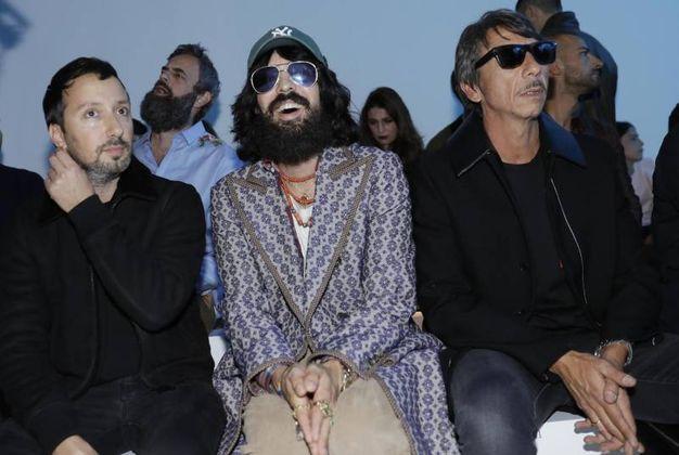Da sinistra Anthony Vaccarello, Alessandro Michele e Pierpaolo Piccioli (Ansa)