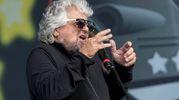 L'intervento di Grillo nella seconda giornata di 'Italia a 5 stelle' alla fiera di Rimini (foto LaPresse)