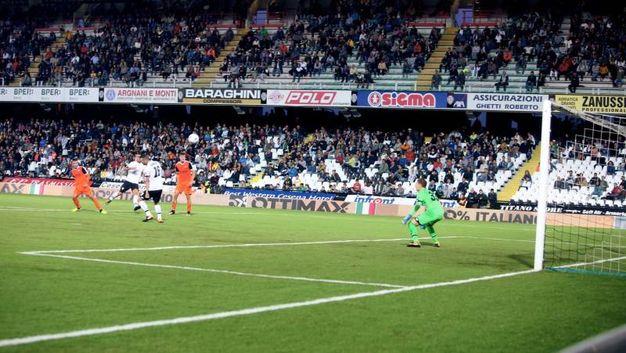 E il gol dello 0-2 (foto Ravaglia)