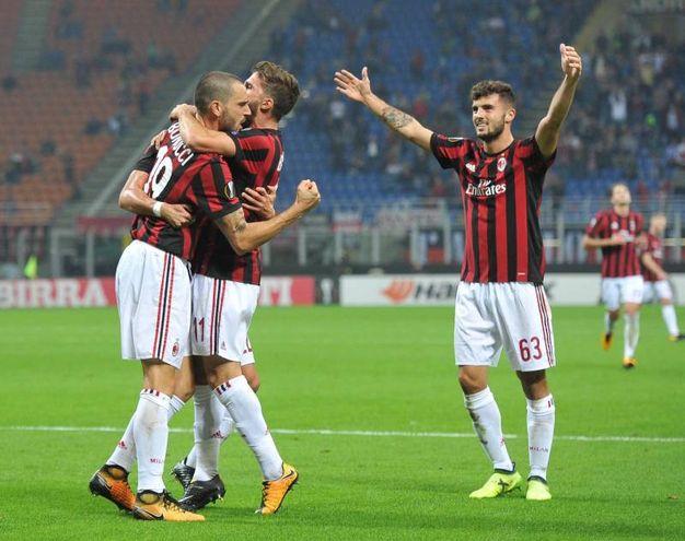 Milan-Rijeka, l'esultanza di Musacchio dopo il gol del 2-0 (foto Newpress)