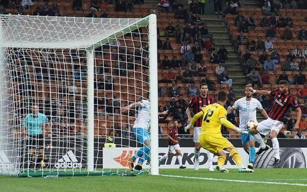 Milan-Rijeka, l'esultanza di Musacchio dopo il gol del 2-0 (foto Lapresse)